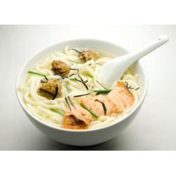 Soupe udon crevettes cébette tofu